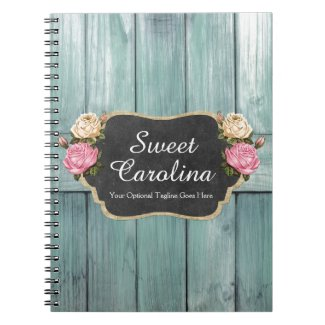 Shabby Vintage Roses Rustic Country Chalkboard Notebook