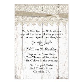 Shabby White Washed Wood and Lace Wedding Custom Announcement