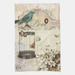 shabbychic Bird  cage collage Vintage Paris Kitchen Towel