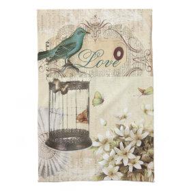 shabbychic Bird  cage collage Vintage Paris Kitchen Towel