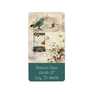 shabbychic Bird  cage collage Vintage Paris Address Label