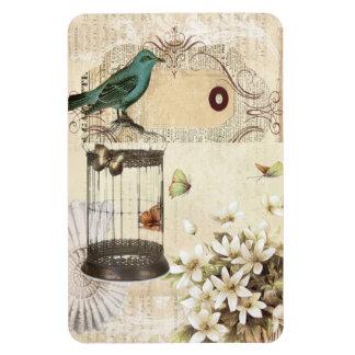 shabbychic Bird  cage collage Vintage Paris Magnet