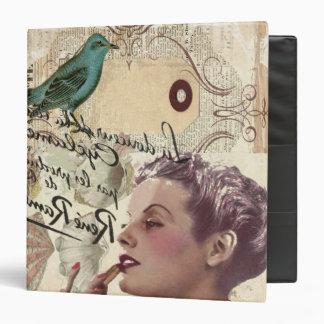 shabbychic Bird collage  Vintage Paris Lady Vinyl Binders
