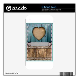 ShabbyChic Blue sandy Hearts Wood Skin For iPhone 4