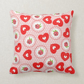 ShabbyChic Ditsy Roses and Hearts Vintage Inspired Throw Pillow