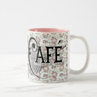 Shabbychic French Cafe Pink Floral Coffee Two-Tone Coffee Mug