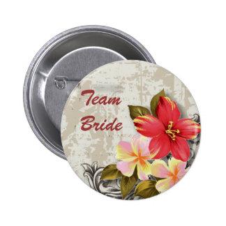 ShabbyChic Hawaii Floral Beach Wedding Favor Pinback Button