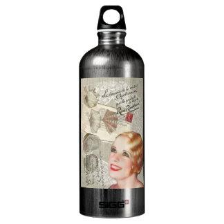 shabbychic seashell Vintage Paris Lady Aluminum Water Bottle