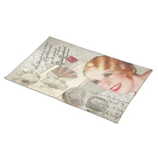 shabbychic seashell Vintage Paris Lady Cloth Placemat