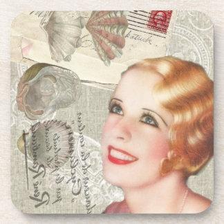 shabbychic seashell Vintage Paris Lady Coaster