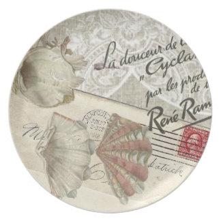 shabbychic seashell Vintage Paris Lady Dinner Plate