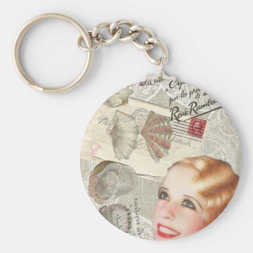 shabbychic seashell Vintage Paris Lady Fashion Keychain