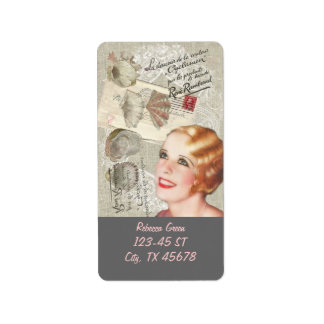 shabbychic seashell Vintage Paris Lady Label