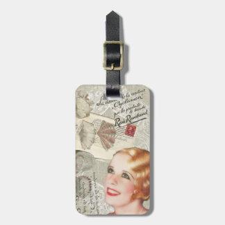 shabbychic seashell Vintage Paris Lady Tag For Luggage