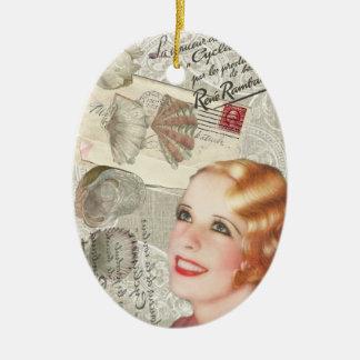shabbychic seashell Vintage Paris Lady Double-Sided Oval Ceramic Christmas Ornament