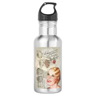 shabbychic seashell Vintage Paris Lady 18oz Water Bottle
