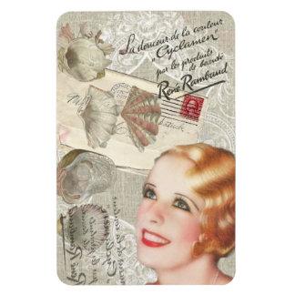 shabbychic seashell Vintage Paris Lady Rectangular Photo Magnet