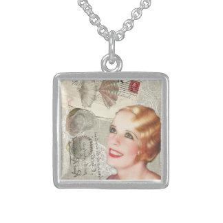 shabbychic seashell Vintage Paris Lady Square Pendant Necklace
