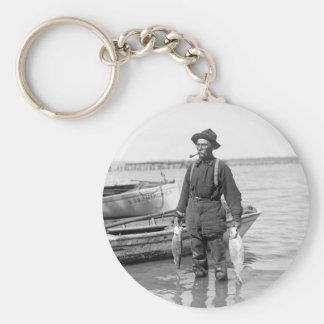 Shad Fishing, early 1900s Keychain