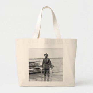 Shad Fishing, early 1900s Large Tote Bag