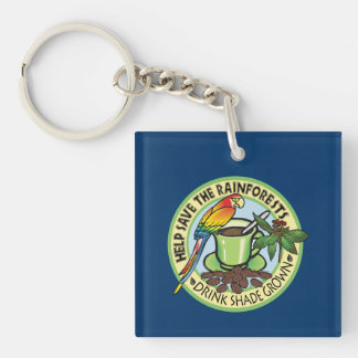 Shade Grown Coffee Single-Sided Square Acrylic Keychain
