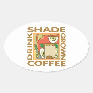 Shade Grown Coffee Oval Sticker
