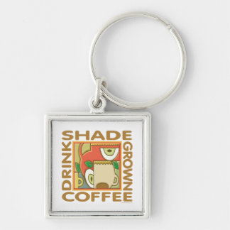 Shade Grown Coffee Silver-Colored Square Keychain