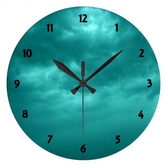 Shade of Cyan Cloudy Sky Clock