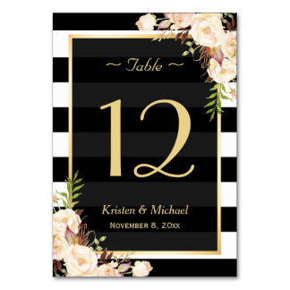 Shade of Ivory Color Floral Wedding Table Number