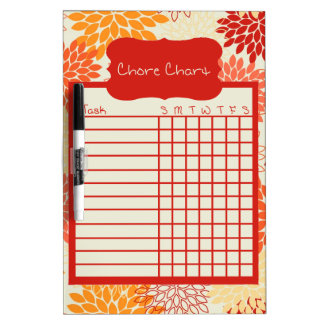 Shade of Orange Floral Chore Chart Dry-Erase Board