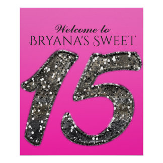 Shade of Pink & Silver Glitter 15 Fifteen Party Poster