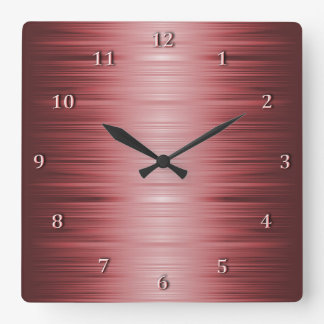 Shaded Burgundy Ruby Red Square Wall Clock