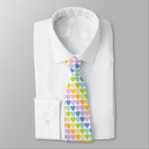 Shaded Pastel Rainbow Hearts Neck Tie