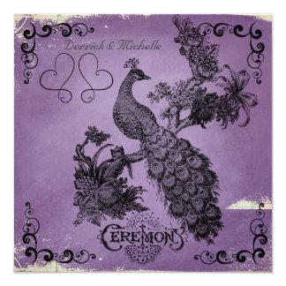 Shaded Purple Peacock Wedding Invitation