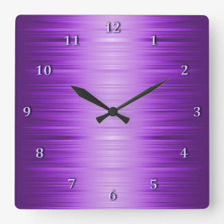 Shaded Purple Violet Lavender Square Wall Clock