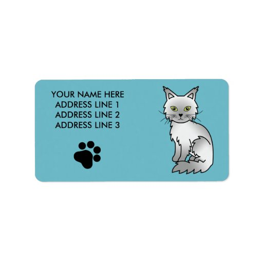 Shaded Silver Maine Coon Custom Address Label
