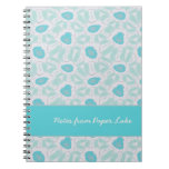 Shades of Aqua Floral Abstract Pattern Custom Note Book