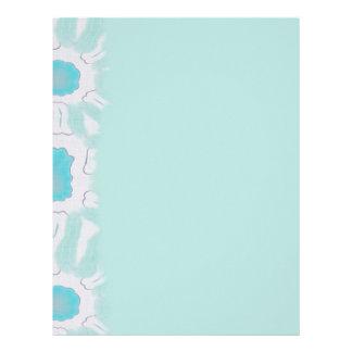 Shades of Aqua Floral Retro Abstract Pattern Letterhead