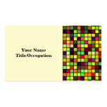 Shades Of Autumn Multicolored Squares Pattern Business Card Template