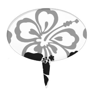 Shades of Black and Gray aloha design Cake Topper