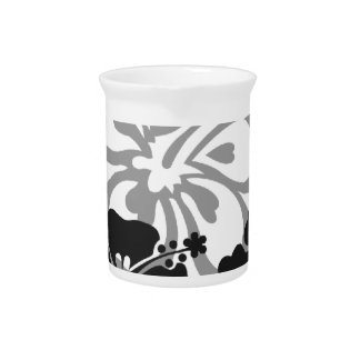 Shades of Black and Gray aloha design Beverage Pitcher