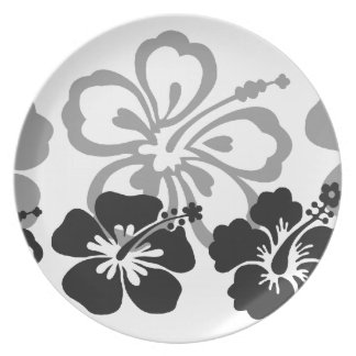 Shades of Black and Gray aloha design Dinner Plates