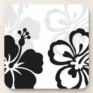 Shades of Black Hibiscus flower Drink Coaster