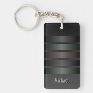 Shades of Black Stripes Pattern Monogram Keychain
