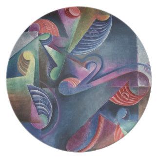 Shades of Blue Abstract Cubism Johannes Molzahn Dinner Plates