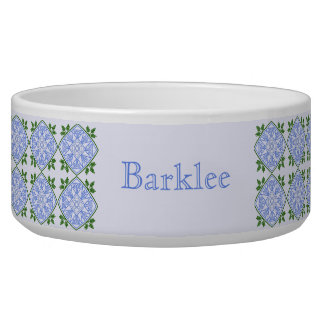 Shades of blue and green floral pattern dog bowl