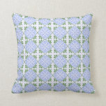 Shades of blue and green floral pattern throw pillows