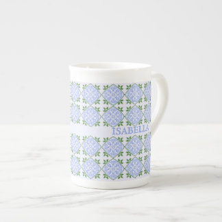 Shades of blue and green floral pattern tea cup