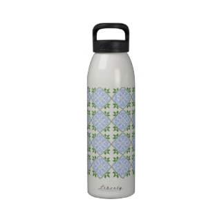 Shades of blue and green floral pattern water bottle