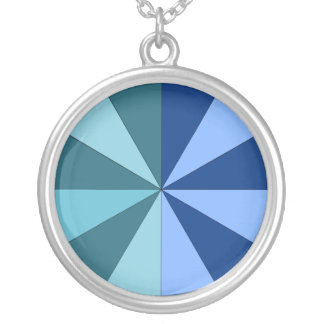 shades of blue and green round pendant necklace